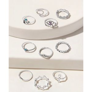 Rhinestone Engraved Ring 10pcs